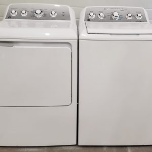 USED SET GE - WASHER GTW485BMK1WS AND DRYER GTD45EBMK0WS