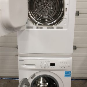 USED SET BLOOMBERG APARTMENT SIZE WASHER WM67121NBL00 AND DRYER DV16540NBL00 7